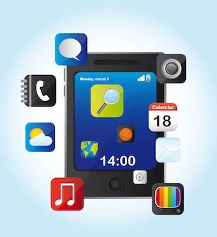 Mobiltelefon mit ikonen über blau