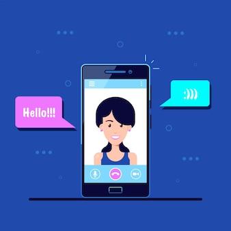 Mobiltelefon mit video-chat-anwendungsoberfläche. videoanruf
