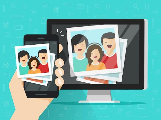 Mobiltelefon oder handy, die fotokarten auf flacher karikatur des computers strömen