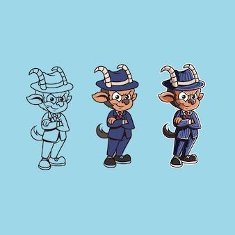 Mobster ziege maskottchen charakter