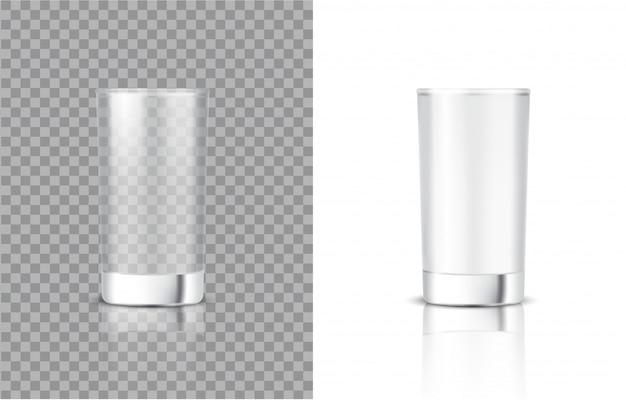 Mock 3d herauf realistisches milch-transparentes glas für nahrung und getränk