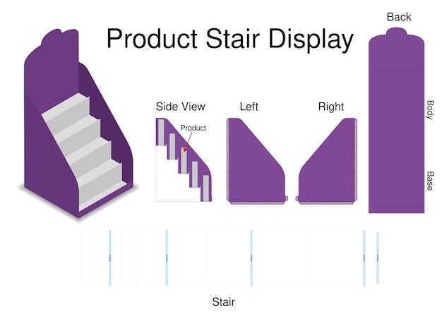 Mock-up-produkt treppe dispaly mit dieline