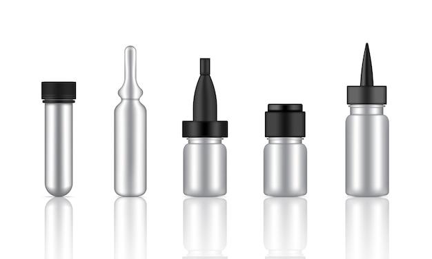 Mock-up realistic metallic cosmetic serum