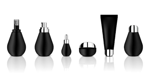 Mock-up realistische glänzend schwarze kosmetische flaschen-set