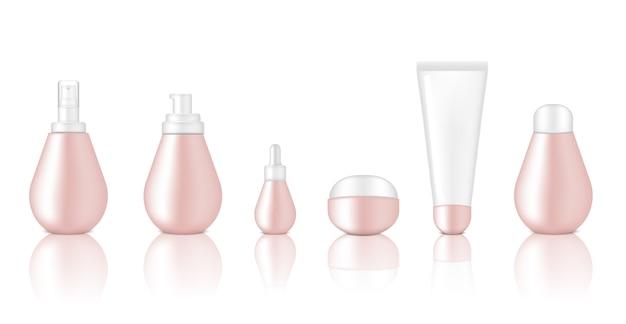Mock-up realistische glossy rose gold kosmetische flasche