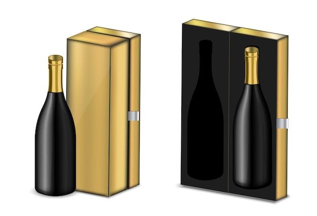 Mock up realistische premium wein alkohol schwarz flasche