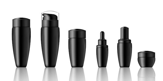 Mock-up realistische schwarze kosmetik und tropfflasche