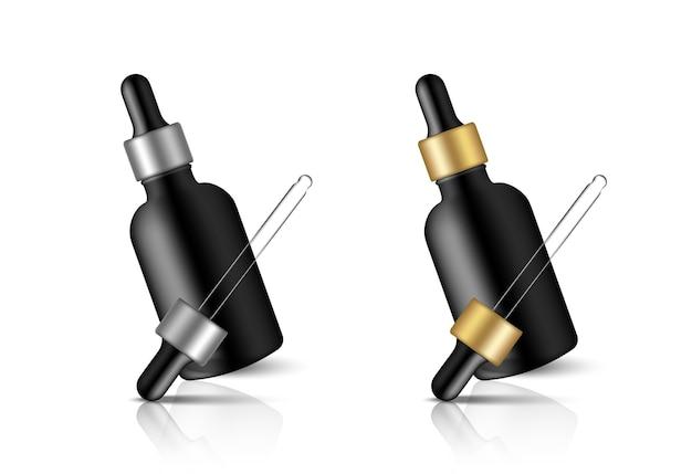 Mock-up realistische schwarze tropfflasche