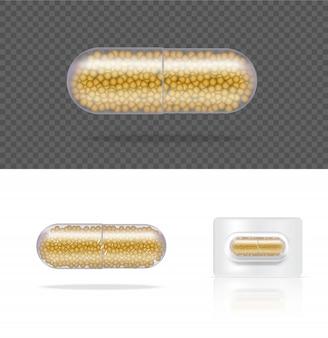 Mock up realistische transparente pille medizin kapsel panel auf weiß