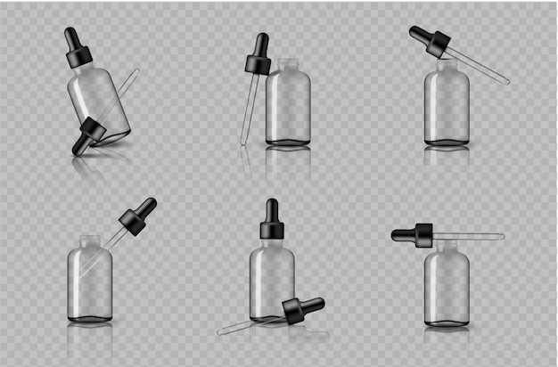 Mock-up realistische transparente tropfflasche