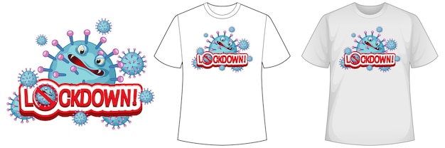 Mock-up-shirt mit coronavirus-symbol