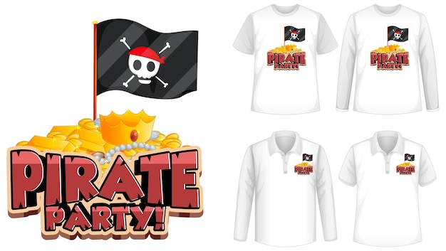 Mock-up-shirt mit piraten-party-symbol