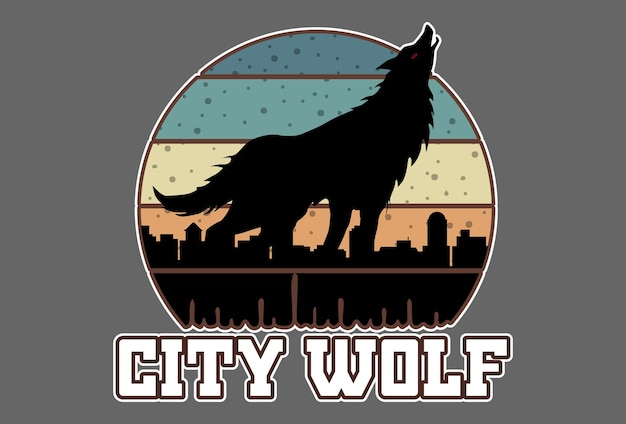 Mock up t-shirt city wolf retro vintage style
