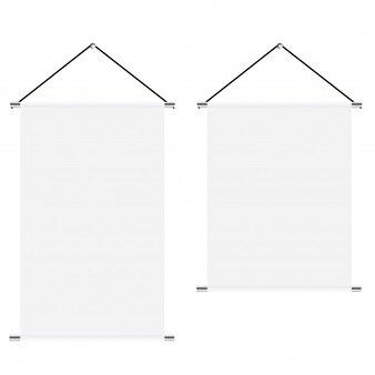 Mock-up von weißen leeren textilfahnen