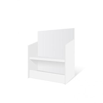 Mockup 3d-karton retail display stand boden rack. illustration