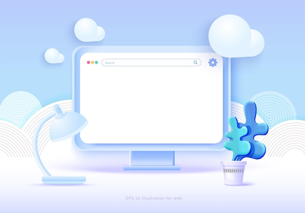 Mockup 3d-monitor auf blauem hintergrund mit wolken und anderen elementen des gefolges konzeptionelle illustration pc-laptop vektorillustration 3d-stil