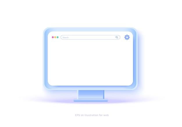 Mockup 3d-monitor auf weißem hintergrund pc-laptop