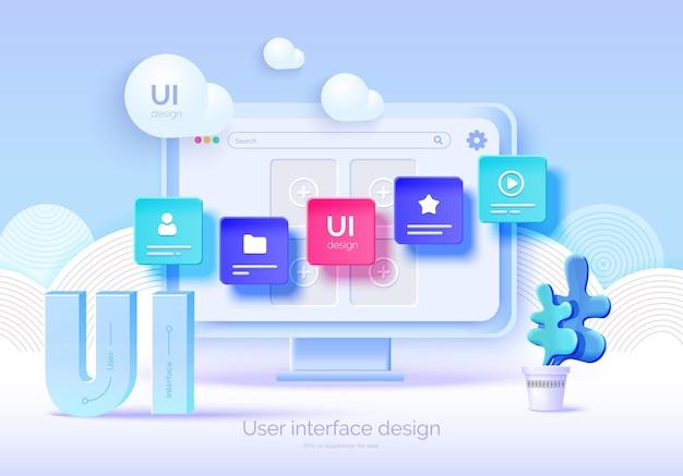 Mockup-3d-monitor mit benutzeroberflächenelementen für webdesign software-ersteller benutzeroberflächendesign für benutzererfahrung eine reihe von tools zum erstellen von ui ux-webentwicklung vektorillustration 3d-stil
