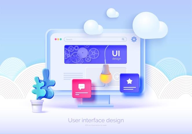 Mockup 3d-monitor mit benutzeroberflächenelementen für webdesign software-ersteller