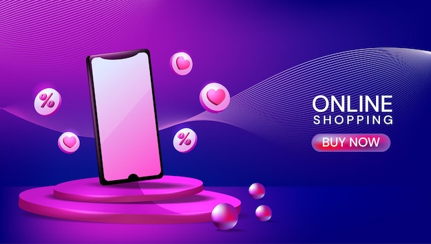 Mockup 3d-podiumsbühne mit smartphone-designvorlage