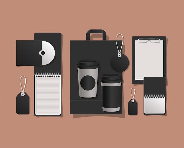 Mockup bag tassen und etiketten