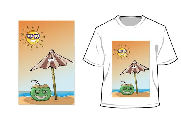 Mockup frische kokosnuss im heißen sommer
