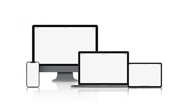 Mockup-gadget-gerät. smartphones, tablets, laptops und computermonitore schwarze farbe mit leerem bildschirm isoliert