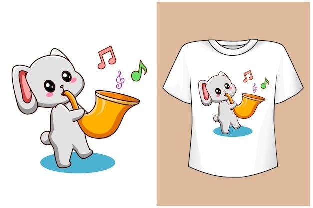 Mockup kaninchen mit trompete