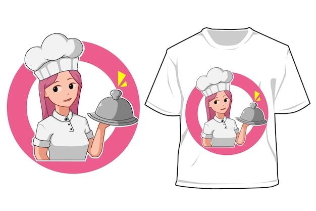 Mockup-kochmädchen-karikaturillustration
