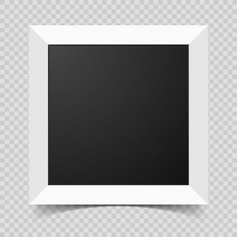 Mockup moderner rahmen für fotos oder bilder mit schatten. realistischer leerer papierrahmen. vektor-illustration auf transparentem hintergrund isoliert