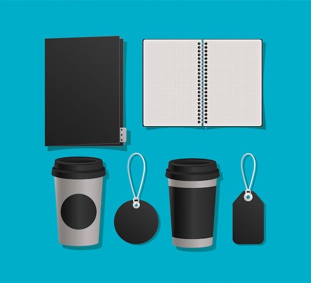 Mockup notebook ordner tassen und etiketten