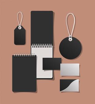 Mockup notebooks karten und etiketten