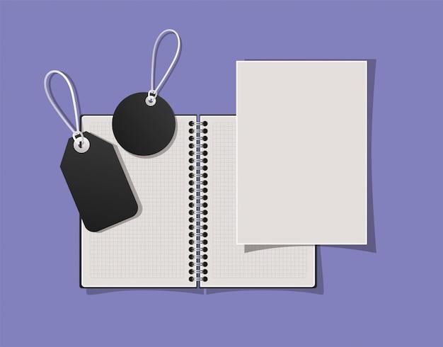 Mockup-notizbücher und etiketten