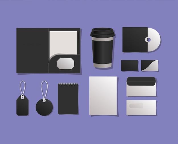 Mockup ordner tasse cd-karten umschläge notizbuch und etiketten