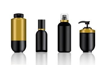 Mockup Realistisch Schwarz und Gold Kosmetische Seife und Spray Luxusflaschen Set Hintergrund