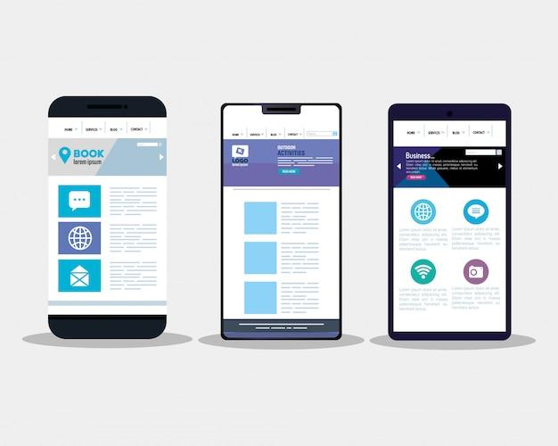 Mockup responsive web, konzept-website-entwicklung in smartphones