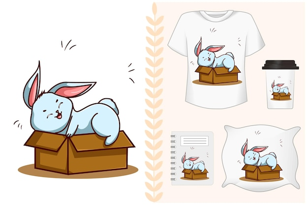 Mockup-set, blaues kaninchen oben auf der box-illustration Premium Vektoren