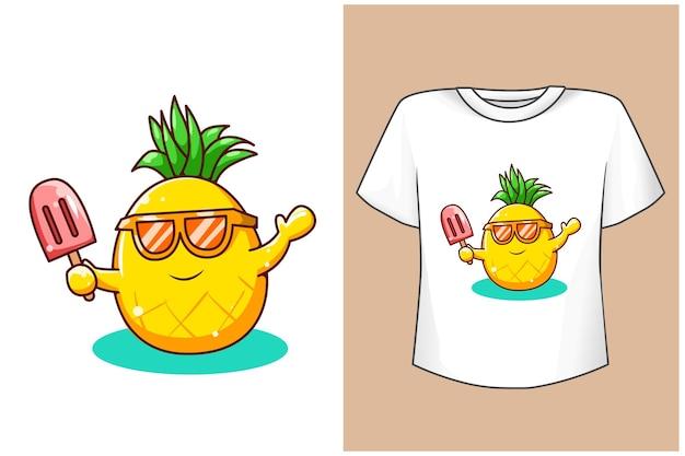 Mockup süße ananas mit eis