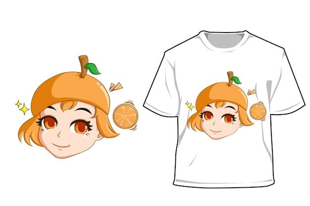 Mockup süßes oranges mädchen