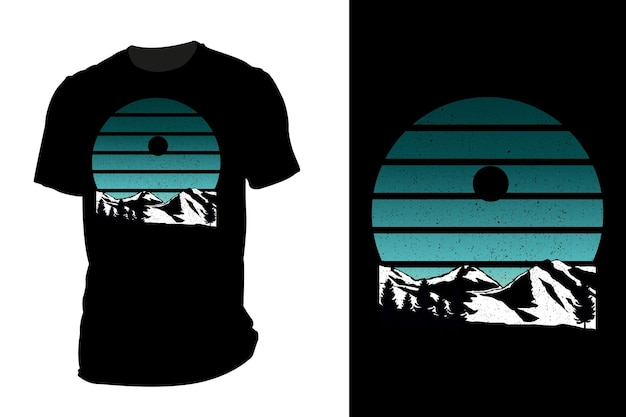 Mockup t-shirt silhouette berg retro vintage