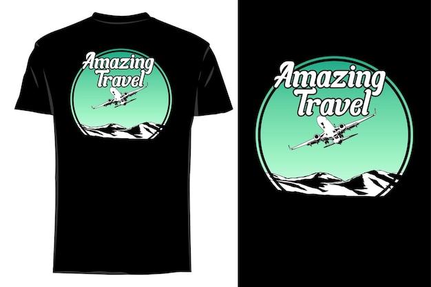 Mockup t-shirt silhouette erstaunliche reise retro vintage