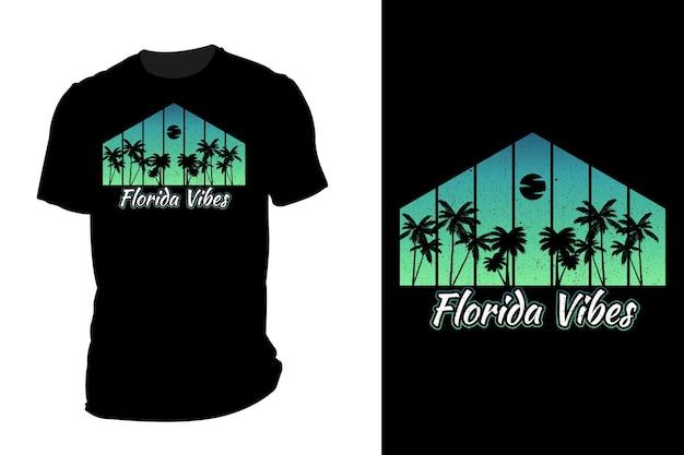 Mockup t-shirt silhouette florida vibes retro vintage
