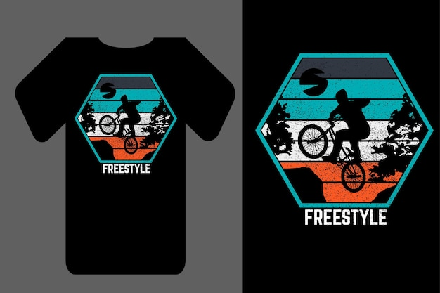 Mockup t-shirt silhouette freestyle retro vintage