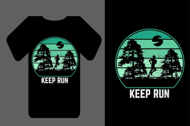 Mockup-t-shirt-silhouette keep run retro vintage