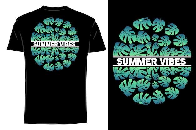 Mockup t-shirt silhouette natur sommer vibes retro vintage