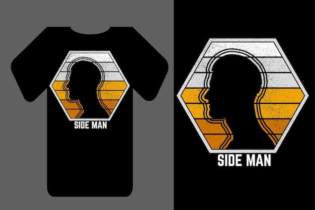 Mockup t-shirt silhouette seite mann retro vintage