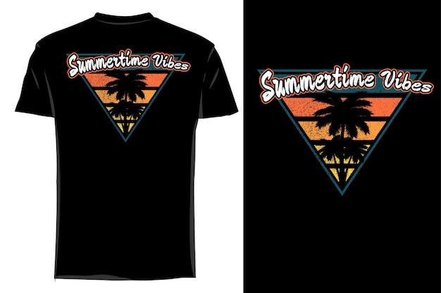 Mockup t-shirt silhouette sommer vibes retro vintage