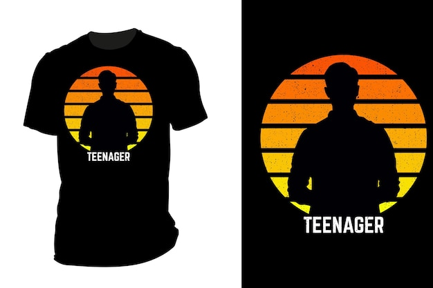 Mockup t-shirt silhouette teenager retro vintage