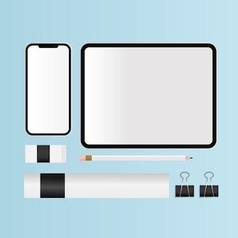 Mockup tablet smartphone und bleistift design der corporate identity vorlage und branding-thema