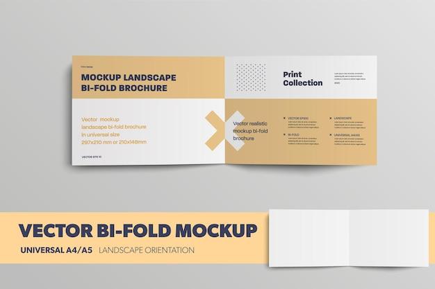 Mockup-vektor-bifold innen mit abstraktem muster für design-präsentation universelle landschaft